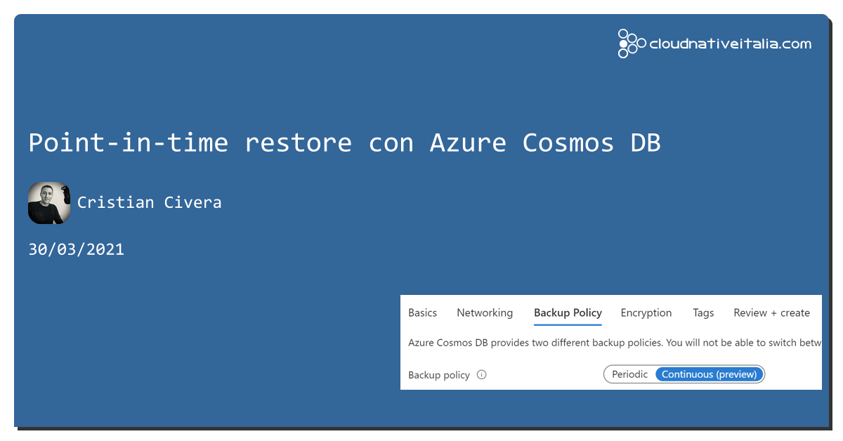 Point-in-time restore con #cosmosdb https://aspit.co/b6j #azure
