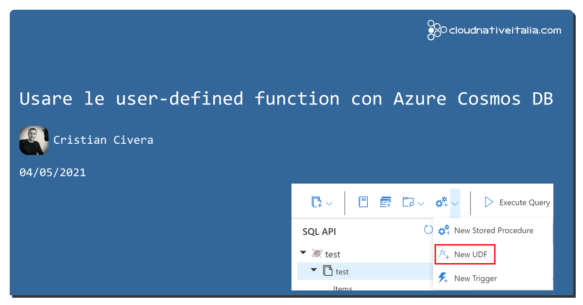 Usare le user-defined function con #cosmosdb https://aspit.co/b6z #azure