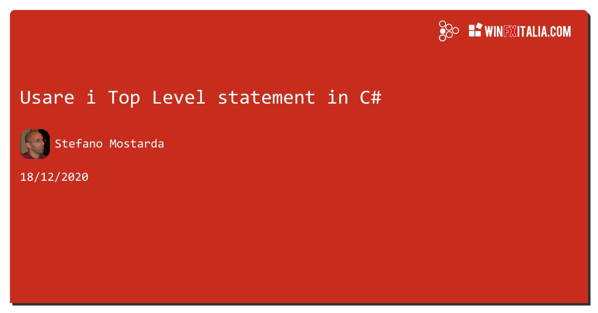 Usare i Top Level statement in C# https://aspit.co/b4j di @sm15455 #net5