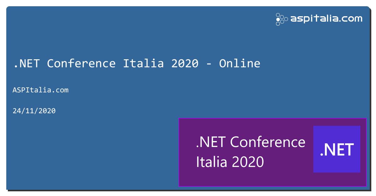 a novembre uscirà #net5 e noi non vogliamo farci trovare impreparati: ecco #netconfit, il 24 novembre, in streaming. Iscrizioni aperte => https://aspit.co/netconfit-20 CFP nel mese di luglio, ma intanto bloccate il vostro posto! #netconf #aspnet5 #visualstudio #azure