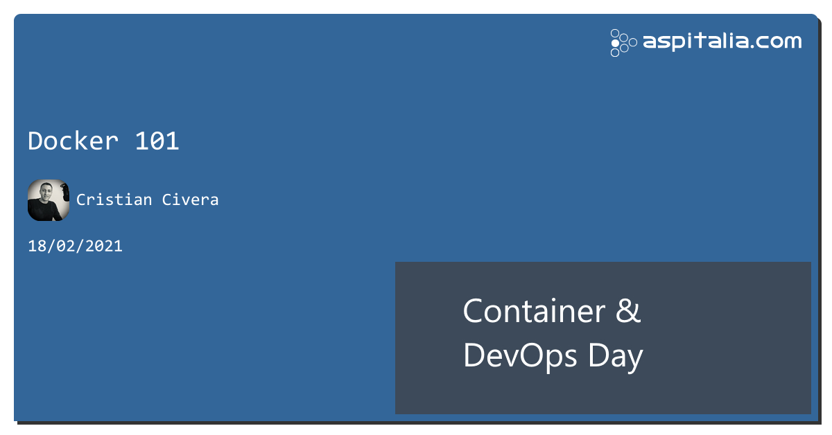 vi siete mai chiesti come utilizzare #docker come sviluppatori?ve lo spiega ora live @CristianCivera: https://aspit.co/ContainerDevOpsDay-21 #aspilive