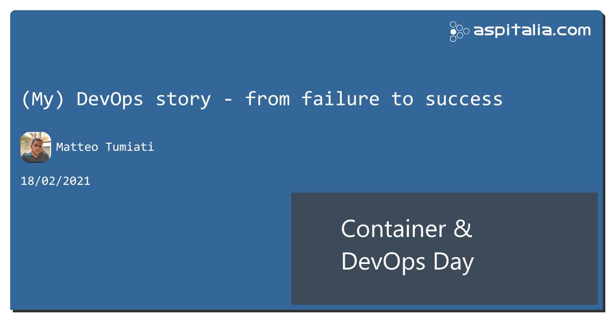quanto è complesso utilizzare correttamente #DevOps?in questa sessione, @xTuMiOx ci parlare di come ha trasformato un team di 70 persone dal fare release manuali ad un sistema automatizzato#aspilive ora su => https://aspit.co/ContainerDevOpsDay-21