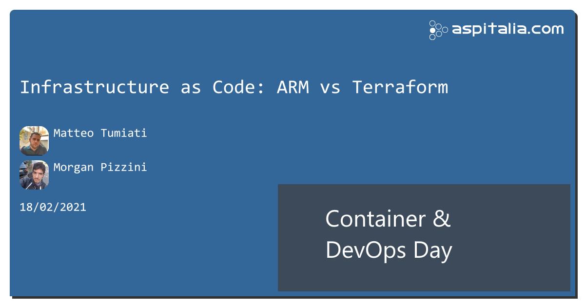 infrastuttura sotto source control, come il codice?#infrastructure as code #iac #arm vs #terraform con @xTumioX e @morwalpiz ora live: https://aspit.co/ContainerDevOpsDay-21 #aspilive