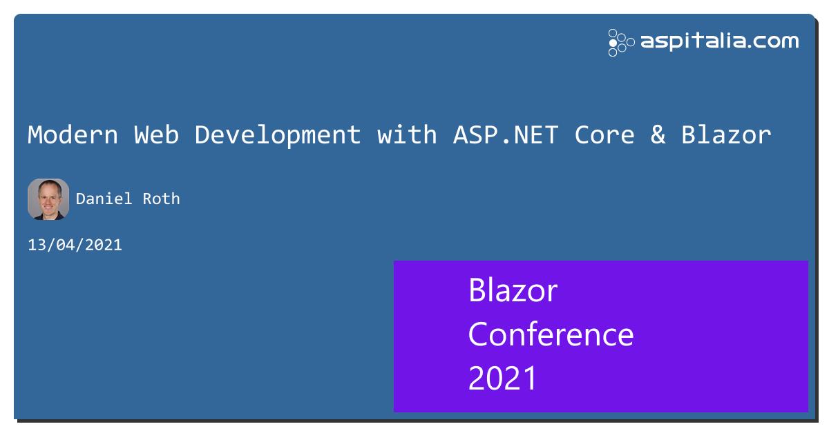 Prime sessioni, con grandi speaker, per #aspilive Keynote di @danroth27 del team di @aspnet e #blazorE poi @dbochicchio, @cristiancivera, @andysal74, @crad77, @kasuken e @SM15455 La CFP è ancora aperta! Info e iscrizioni => https://aspit.co/BlazorConf-21
