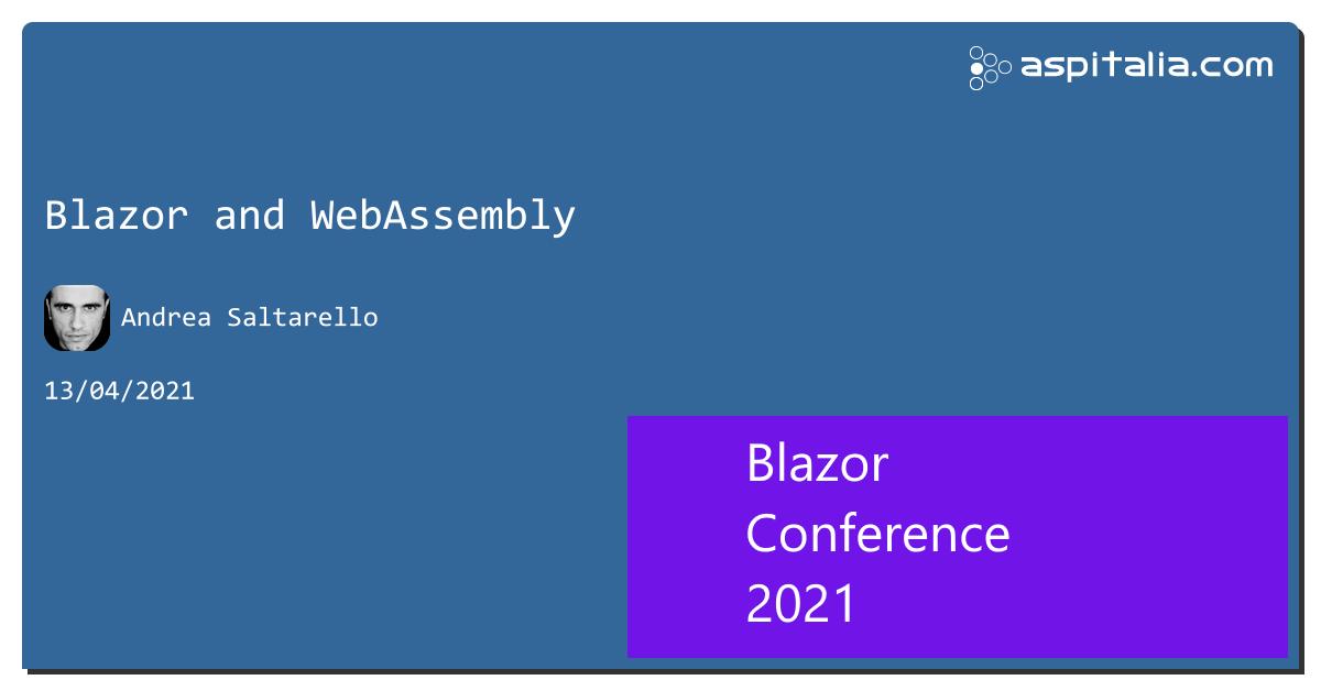 Track 1: @ATosato86 con 'Data access with LiteDB in Blazor'Track 2: @andysal74 con 'Blazor and WebAssembl'Track 3: #aspilive Seguici live su => https://aspit.co/BlazorConf-21