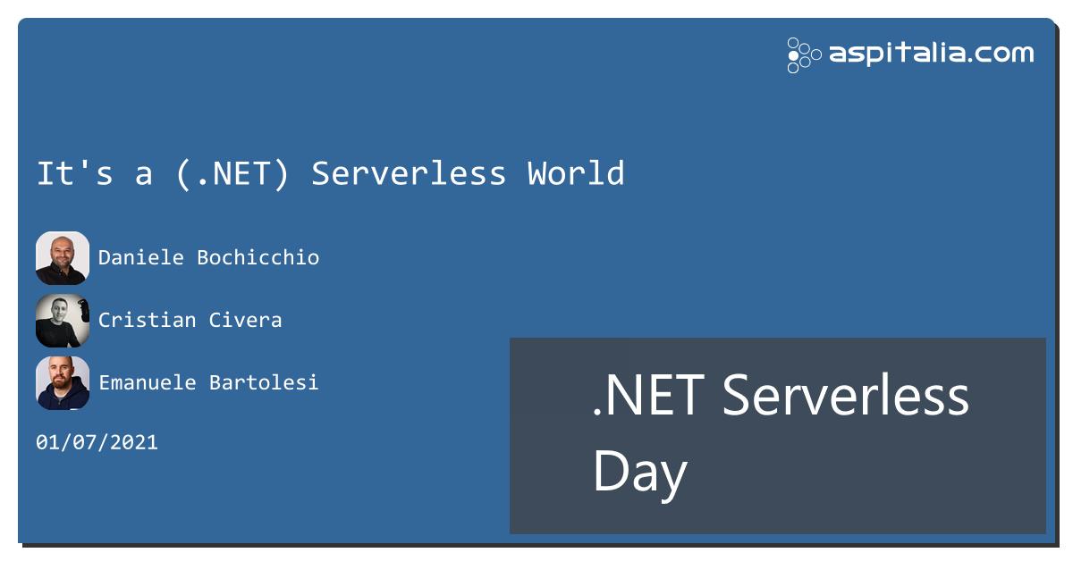 stiamo per partire con #aspilive .NET Serverless Day, con @dbochicchio, @cristiancivera e @kasukenhttps://aspit.co/ServerlessDay #azure #aws #serverless #dotnet